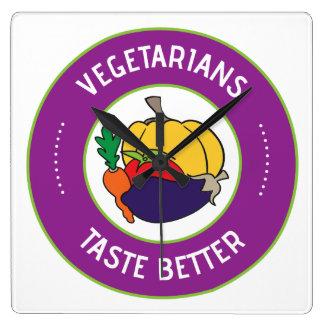 Vegetarians taste better square wall clock