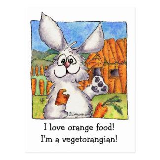 Vegetorangian funny rabbit vegan postcard