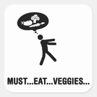 Vegggie Lover Square Stickers