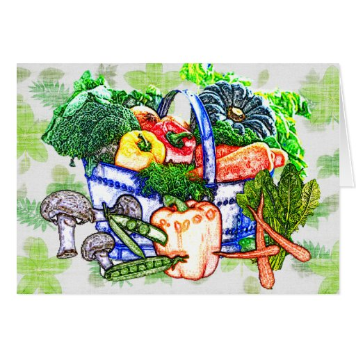 Veggie Basket Greeting Cards