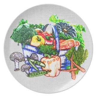 Veggie Basket Melamine Plate
