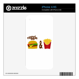 Veggie Burger and Fries Decals For iPhone 4