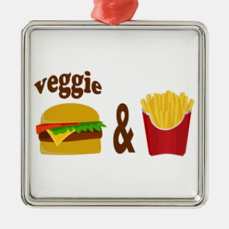 Veggie Burger and Fries Metal Ornament