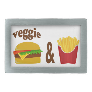 Veggie Burger and Fries Rectangular Belt Buckle