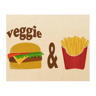 Veggie Burger and Fries Wood Wall Decor