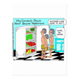 Veggie Cannibals Funny Offbeat Cartoon Gifts Postcard