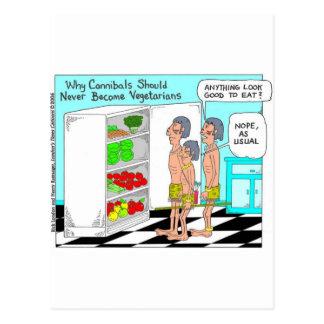 Veggie Cannibals Funny Offbeat Cartoon Gifts Postcard