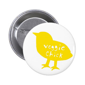 Veggie Chick Button (Yellow)