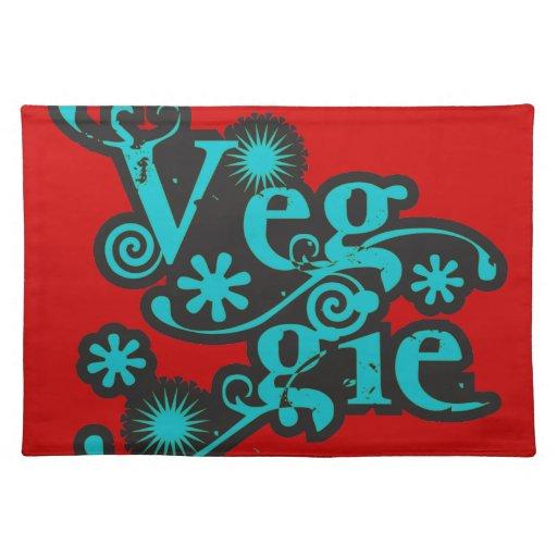 Veggie del vintage, para los vegetarianos y los ve mantel