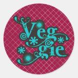 Veggie del vintage, para los vegetarianos y los ve pegatina redonda