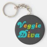 Veggie Diva Basic Round Button Keychain
