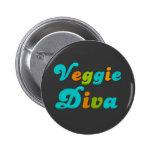 Veggie Diva Pinback Buttons