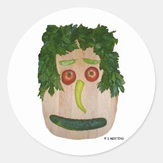 Veggie Face Round Stickers