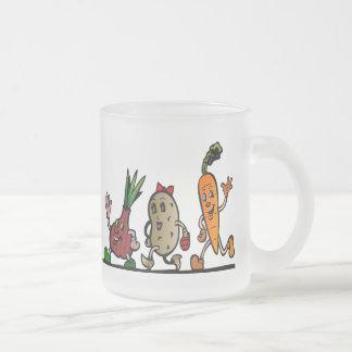 veggie fun frosted glass coffee mug