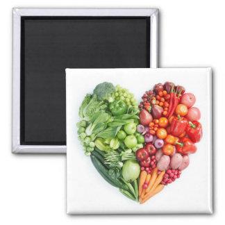 Veggie Heart 2 Inch Square Magnet
