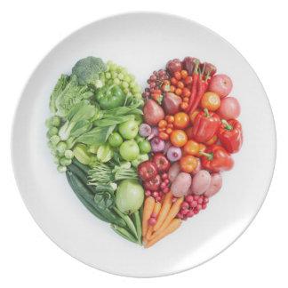 Veggie Heart Melamine Plate
