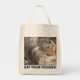Veggie Loving Squirrel Canvas Tote