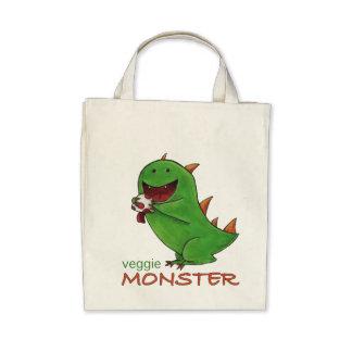 Veggie Monster grocery tote Bags