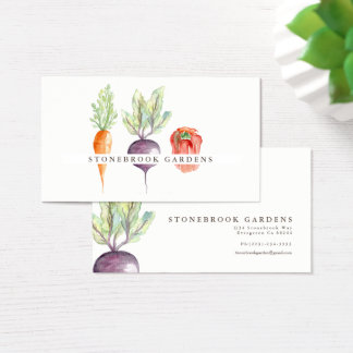 Veggie Patch Watercolor Business Card