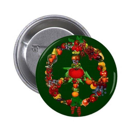 Veggie Peace Sign Pinback Button