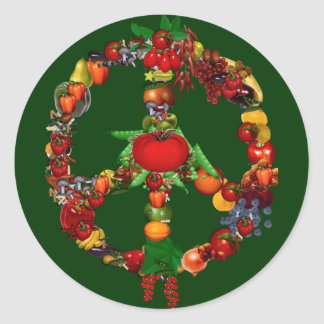 Veggie Peace Sign Classic Round Sticker
