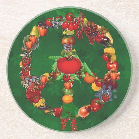 Veggie Peace Sign Drink Coaster