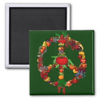 Veggie Peace Sign 2 Inch Square Magnet