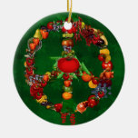 Veggie Peace Sign Double-Sided Ceramic Round Christmas Ornament