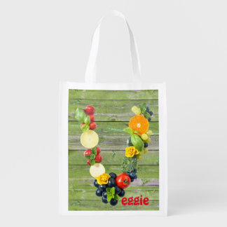 Veggie Power Green Wood Reusable Grocery Bag
