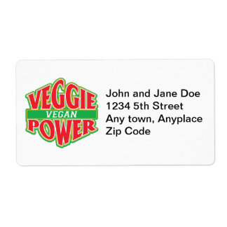 Veggie Power Vegan Personalized Shipping Labels