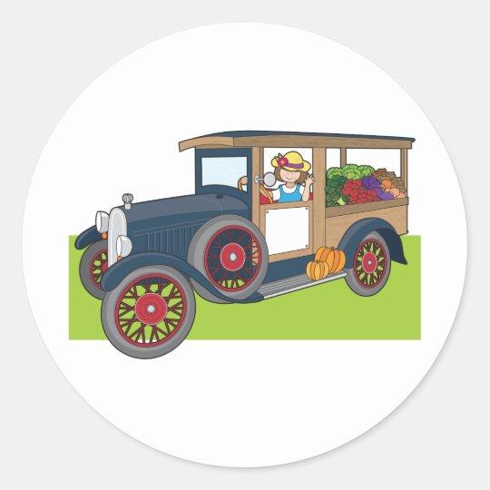 Veggie Truck Classic Round Sticker