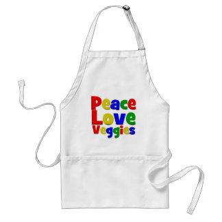 Veggies coloridos del amor de la paz delantales