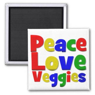 Veggies coloridos del amor de la paz imán cuadrado
