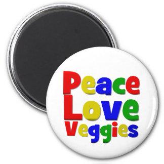 Veggies coloridos del amor de la paz imán redondo 5 cm