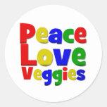 Veggies coloridos del amor de la paz etiquetas redondas