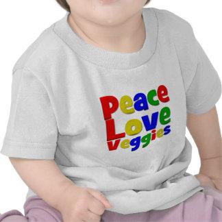 Veggies coloridos del amor de la paz camisetas