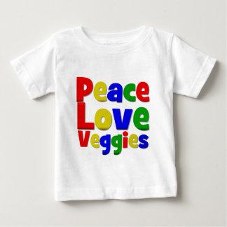 Veggies coloridos del amor de la paz playera de bebé
