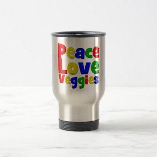 Veggies coloridos del amor de la paz taza de viaje de acero inoxidable