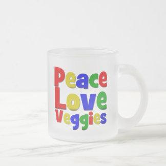 Veggies coloridos del amor de la paz taza de cristal