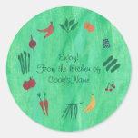 Veggies de Fuits de la cocina de los pegatinas de Etiquetas Redondas