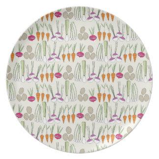 ¡Veggies de la placa de la melamina! Plato