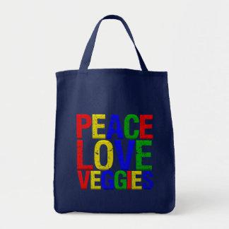 Veggies del amor de la paz bolsa tela para la compra