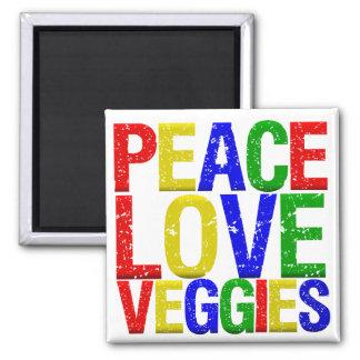 Veggies del amor de la paz imán cuadrado