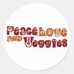 Veggies del amor de la paz pegatina redonda