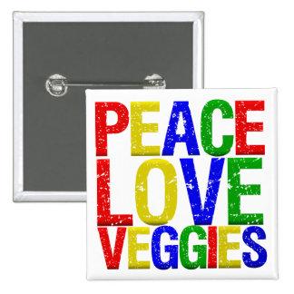 Veggies del amor de la paz pin cuadrada 5 cm
