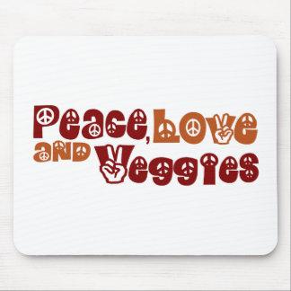 Veggies del amor de la paz tapete de ratón