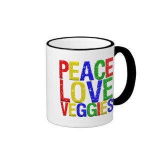 Veggies del amor de la paz tazas