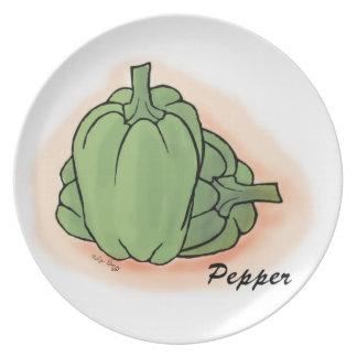 Veggies del vintage - placa de la pimienta plato de cena