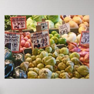 Veggies en el mercado de lugar de lucios en Seattl Póster