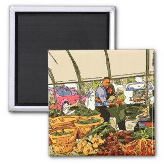 Veggies frescos en el mercado de los granjeros imán de nevera